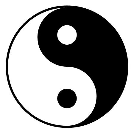 Black and white yin-yan symbol isolated on white background