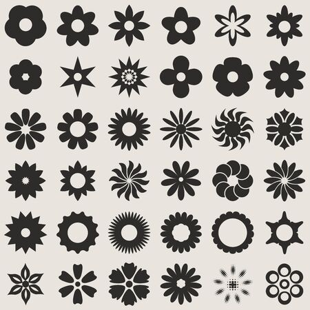 shape: Black and white abstract flower bud shapes  Illustration