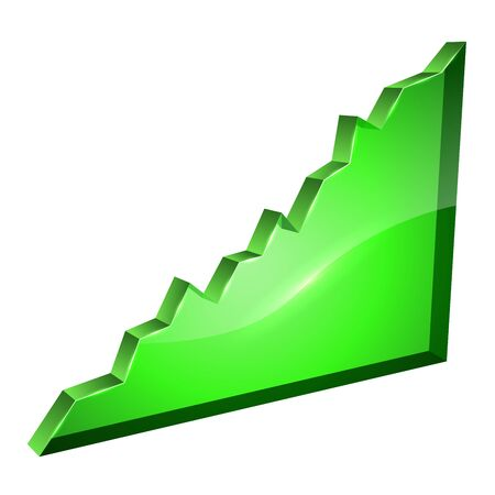 rosnąco: 3D rosnąco szkło zielony wykres