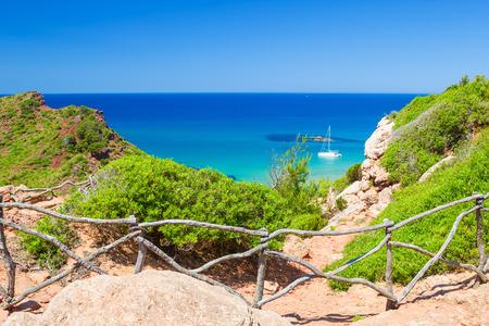 cami: Cala del Pilar view from the Cami de Cavalls path at Menorca, Spain  Stock Photo