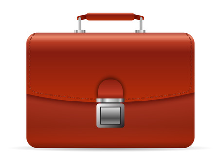 Red leather businessman briefcase illustration  Vector