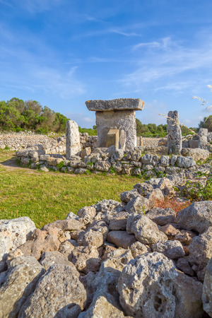 settlements: Talaiot de Trepuco megalithic table-shaped Taula monument in sunny day at Menorca island, Spain