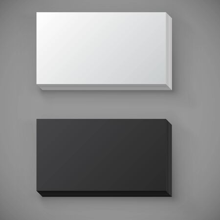 resizable: Black and white blank standard business card stack