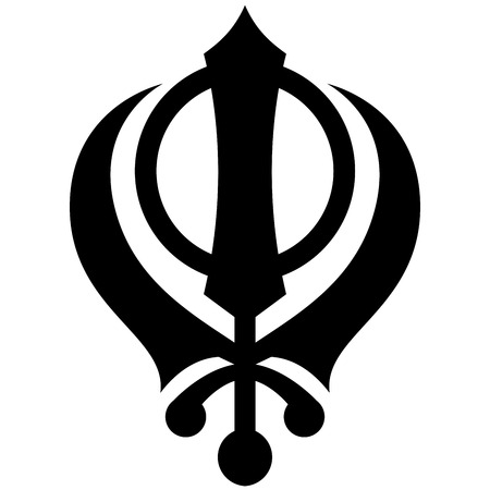 검은 색과 흰색 Khanda 기호 그림