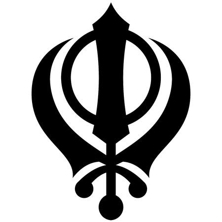 khanda: Black and white Khanda symbol  illustration