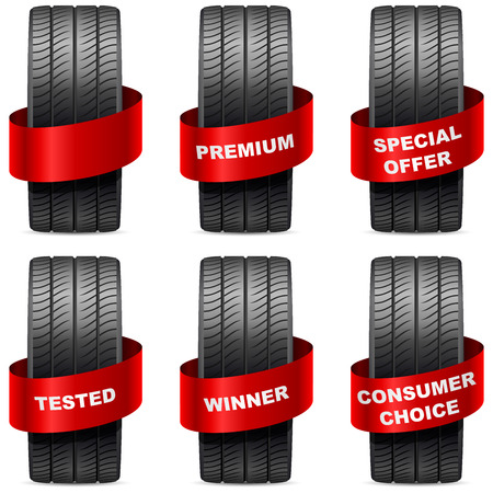Summer tires with promo red banners isolated on white background  Vector