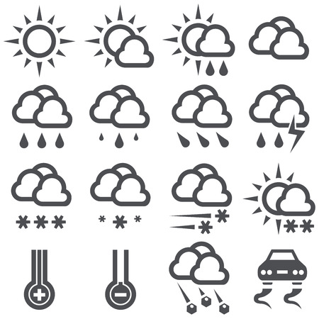 Outline black and white weather icons  Vector