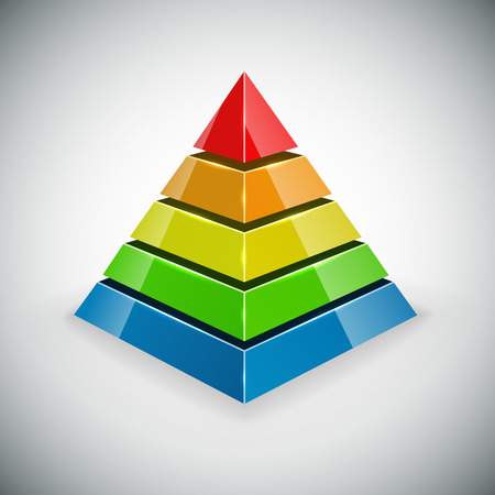 Pyramid with color segments  design element   Vector