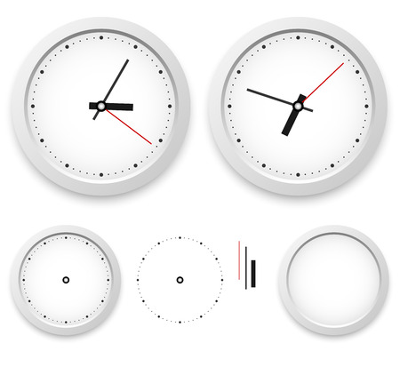 object with face: White wall clock vector template isolated on white background  Illustration