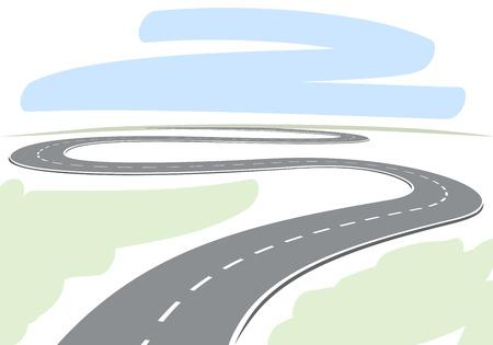 地平線のベクトル図につながる曲がりくねった道路の図面を抽象化します。