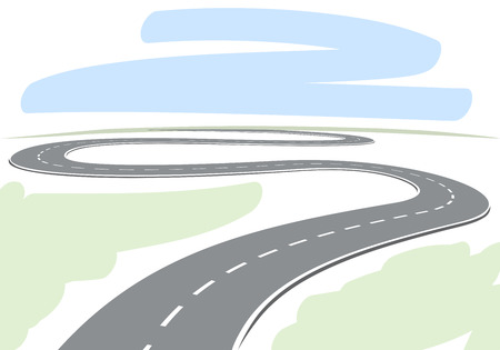 Abstract drawing of winding highway leading to the horizon vector illustration  Vettoriali