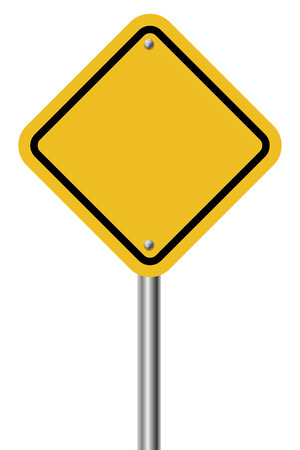 traffic pole: Blank diamond shaped warning yellow sign isolated on white background  Illustration