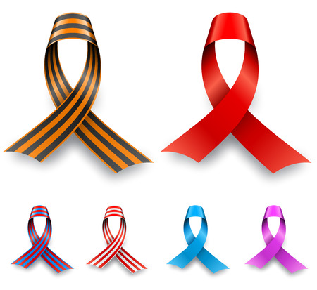 Color awareness ribbon set isolated on white background  Vector
