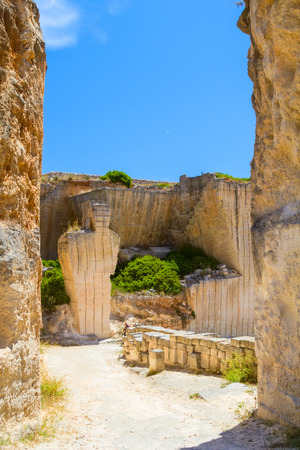 quarries: Old Des'hostal quarry entrance in sunny day at Menorca island, Spain