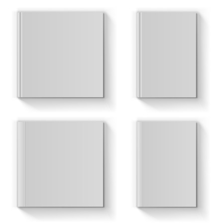 Blank book cover vector template isolated on white background  Vettoriali