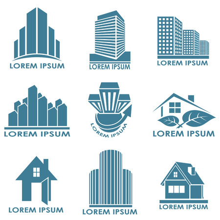 Real estate or construction vector emblems isolated on white background  Illustration