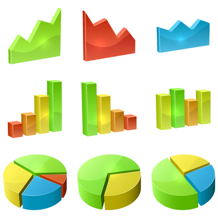 Color 3D graph icon vector set isolated on white background  Vector