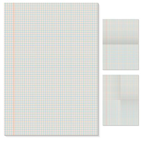margen: Plantilla de página vectorial forrados en blanco con las variantes de imitación plegadas Vectores
