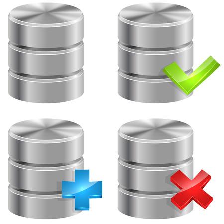data backup: Metallic database icons isolated on white background