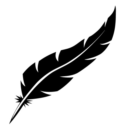 Blank bird feather vector shape isolated on white background