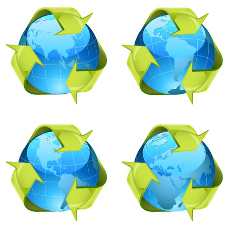 Recycling green arrows wrapping around world globe isolated on white background  Vector