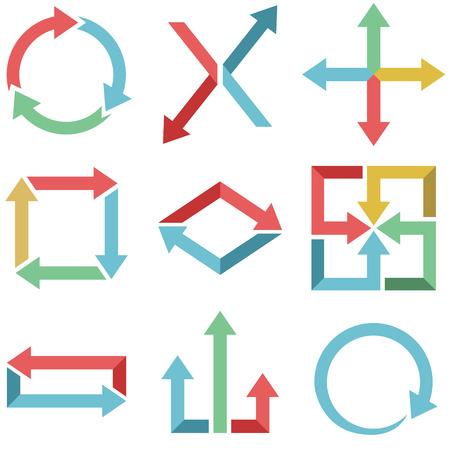 plain: Color arrows flat design set isolated on white background  Illustration