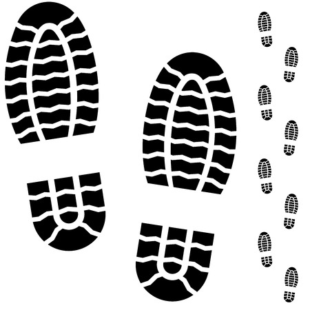 Black and white boot prints isolated on white background  Vector