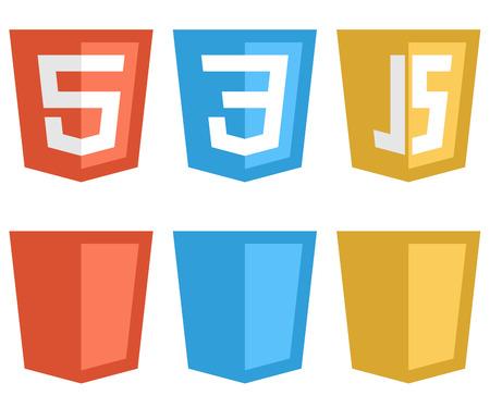 Kleur webtechnologie schild vormige tekens op een witte achtergrond HTTP5, CSS3 en Javascript pictogrammen
