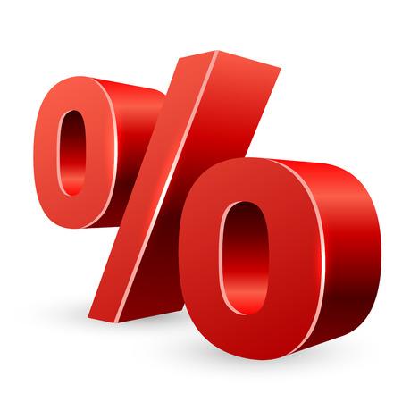 prozentzeichen: Red 3D-Prozent-Zeichen auf wei�em Hintergrund
