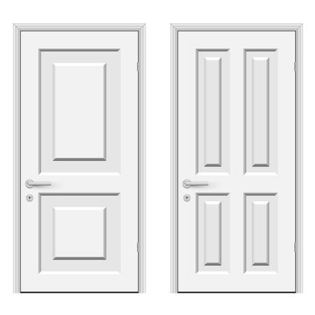 wooden doors: White doors isolated on white background vector illustration  Illustration