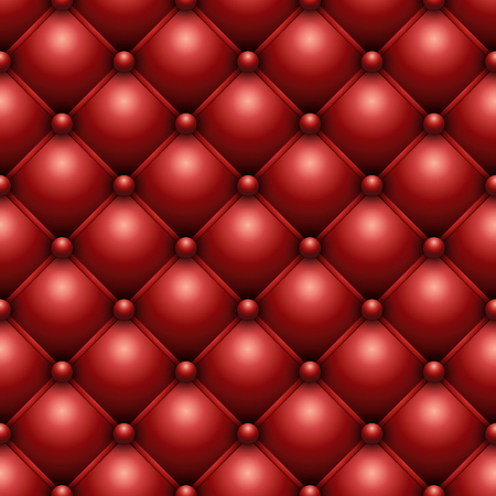 genuine leather: Seamless red buttoned leather upholstery vector texture. Illustration