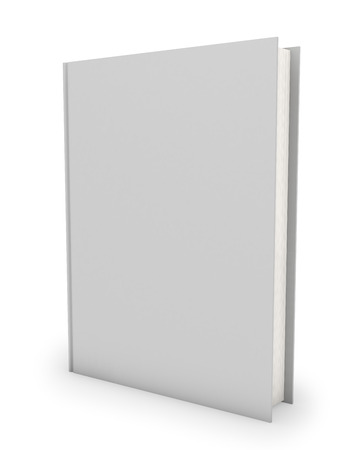 Blank hardcover book template isolated on white background.