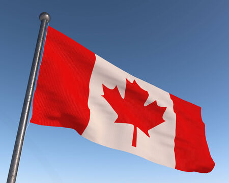Canada national flag with blue sky in the background. Reklamní fotografie