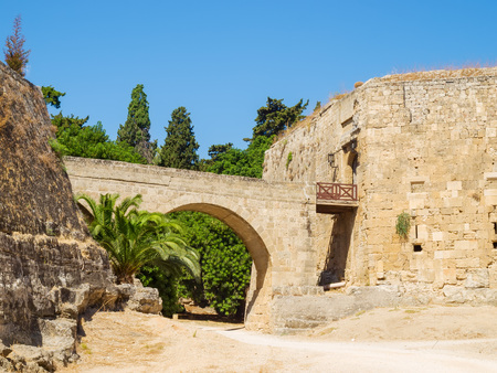 Rhodes old town entrance bridge, Greece. photo