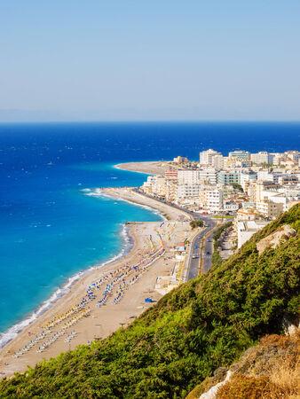 aegean sea: View on Rhodes town tourist district and Aegean and Mediterranean sea, Greece