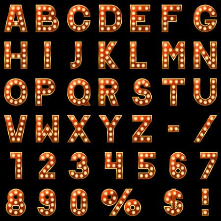 tipos de letras: Mostrar lámparas alfabeto rojo sobre fondo negro.