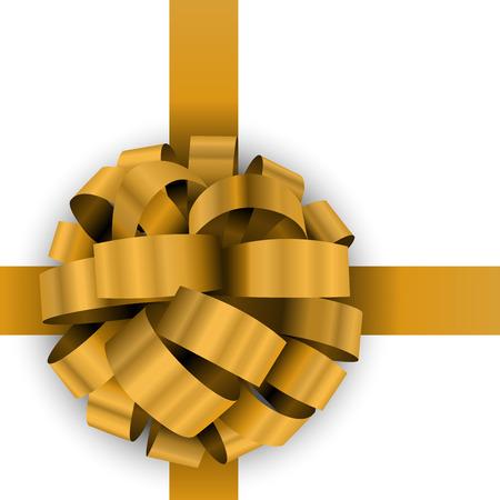 Noël jaune présent modèle de vecteur d'arc isolé sur fond blanc.