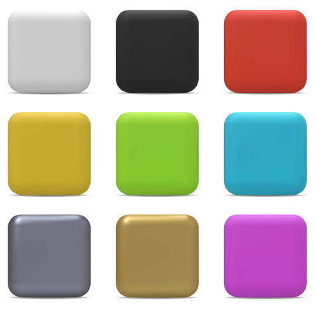rectangle button: Color rounded square buttons isolated on white background. Illustration