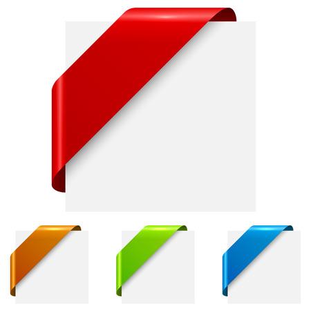 Abstraktní barevné rohové pásky značky na bílém pozadí.