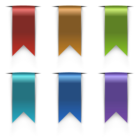 Color flag tags vector set isolated on white background. Vector