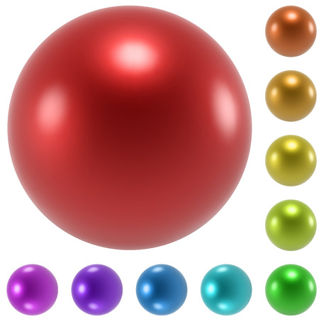 Color glossy spheres vector set isolated on white background. Vector