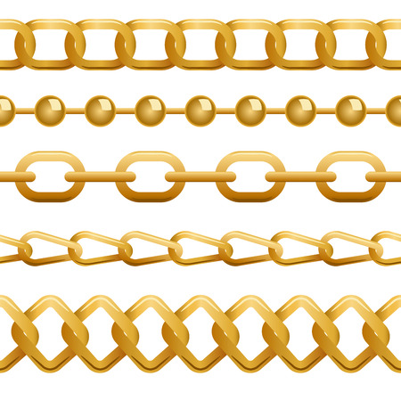 chain fence: Seamless golden chains template vector illustration.
