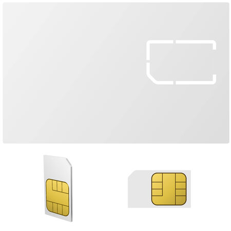 sim card: Blank SIM card vector template isolated on white background. Illustration