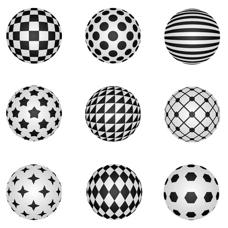 checkered volume: Black and white 3D patterned sphere vector design elements.