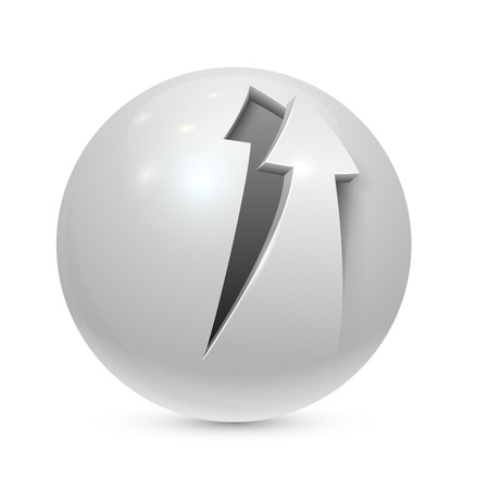 Sphere with peeled arrow icon isolated on white background. Vector