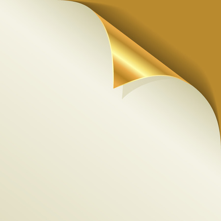 Golden page curl with shadow template.