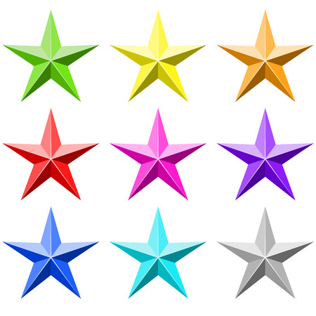 five star: Color stars set isolated on white background