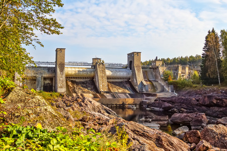 water power plant: Imatra water power plant water dam known as popular suicide place. Stock Photo