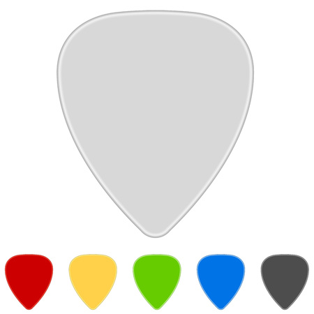 Blank color guitar picks isolated on white background. Vector