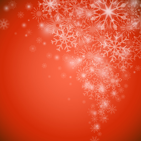Christmas snowflake flow red vector background with copy space. Vector